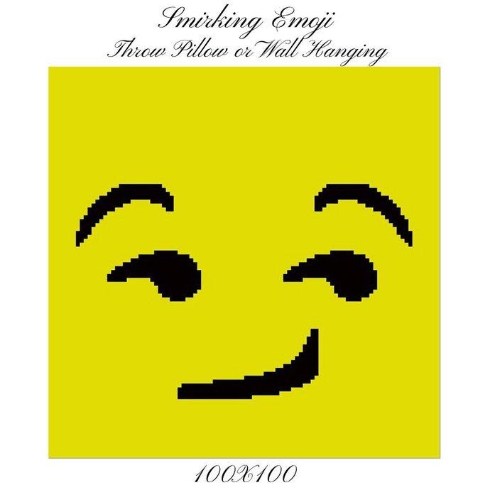 Emoji Smirking Pillow Crochet Graph Pattern