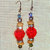 Dangle Earrings with Faceted Focal Bead, your choice Red or Blue, accented with