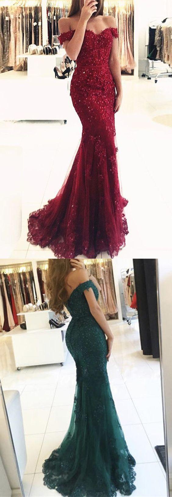 Mermaid Prom Dresses,Off-the-Shoulder Prom Dresses,Dark Red Prom Dresses,Tulle
