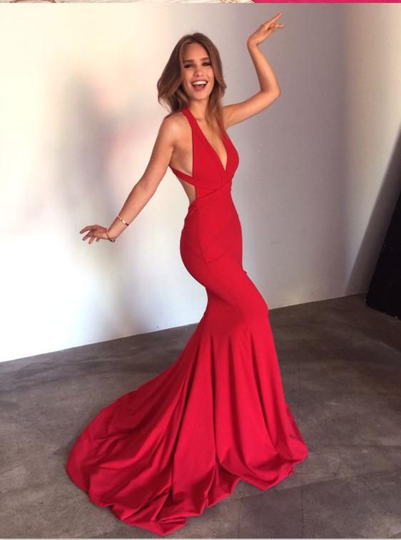 Deep V-neck Prom Dresses,Red Prom Dresses,Mermaid Prom Dresses,Simple Prom