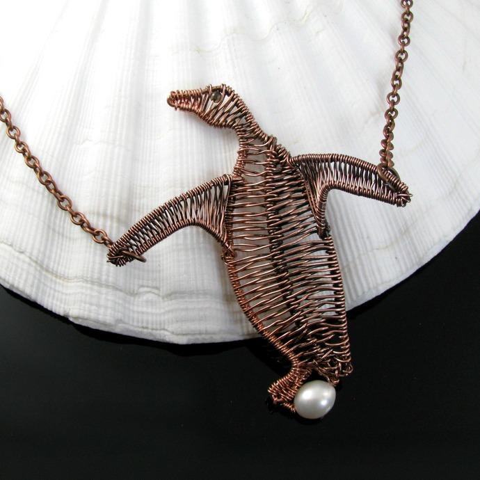 Mister Penguin wire woven copper pendant