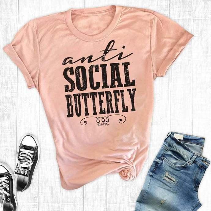 Anti Social Butterfly Shirt, Funny Sayings, Social Butterfly Shirt, Funny