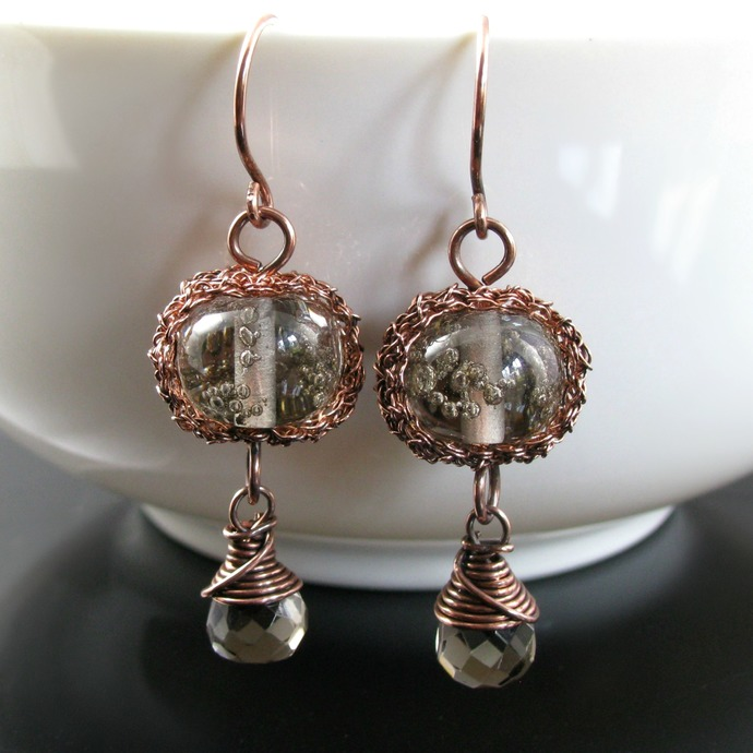 Wire crochet and wrap earrings with bubble lampwork beads