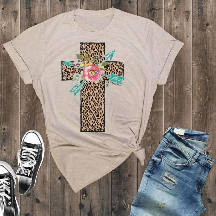 Leopard Print Cross Faith Shirt, Christian Shirts, Womens Jesus T-Shirt, Women's