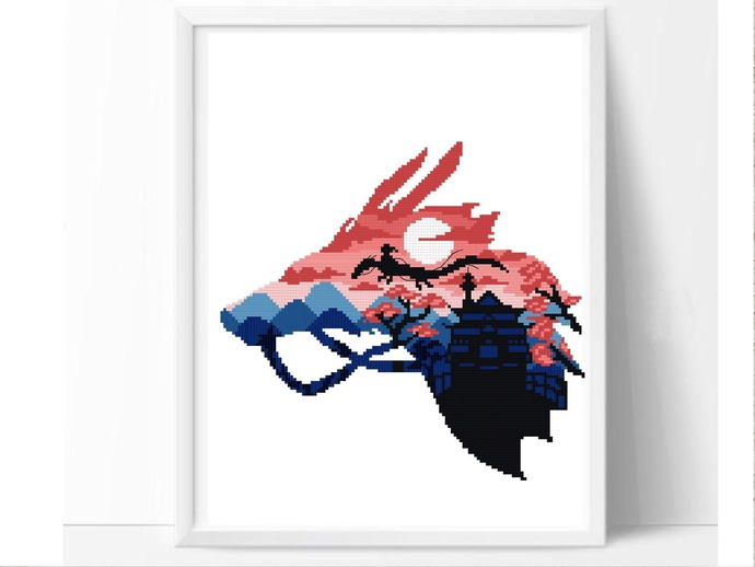 Modern silhouette cross stitch pattern, anime inspired, movie cross stitch, easy
