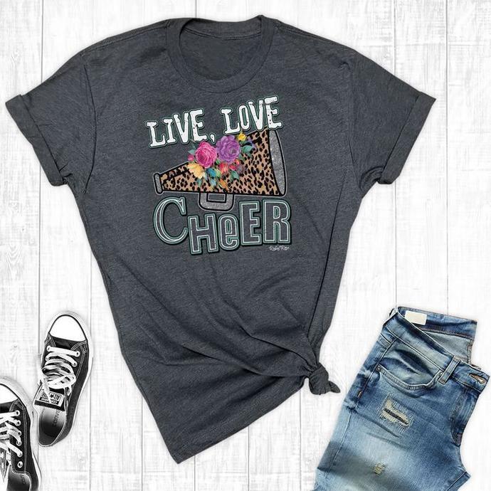Live Love Cheer, Cheer Mom Shirts, Cheer Shirt, Cheer Mom Tee, Cheer Shirts,