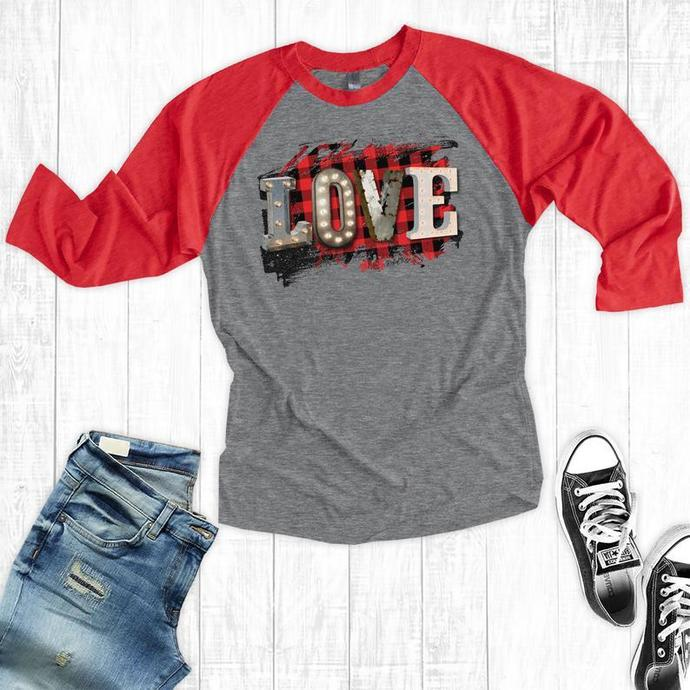 Buffalo Plaid Love Valentines Day Raglan, Valentine's Gift, Girlfriend Shirts,