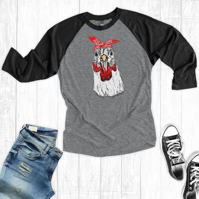 Chicken Bandana Raglan, Chicken Baseball T-Shirt, Women's T-shirt, Farm Shirts,