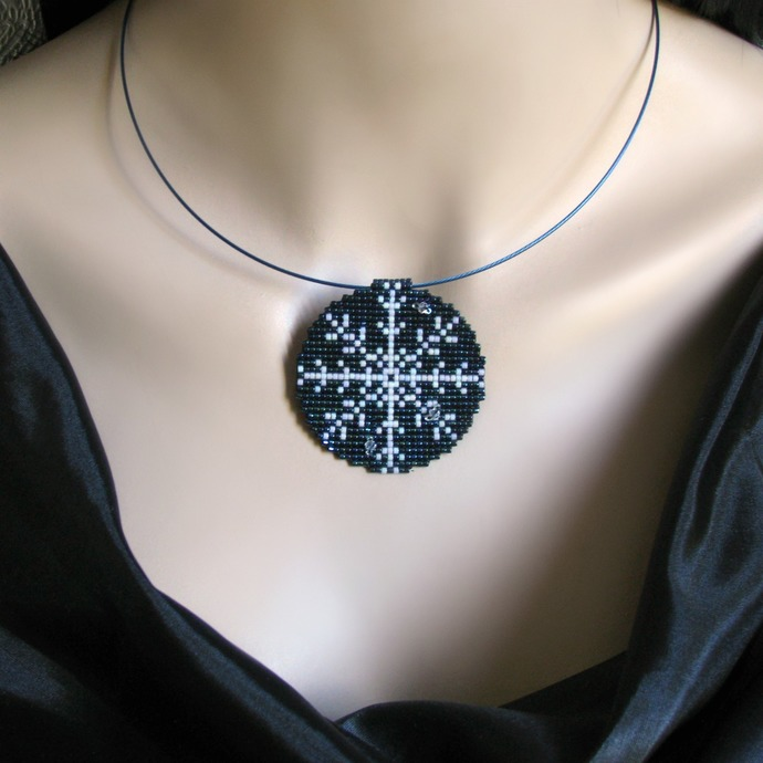 Bead loomed blue and white snowflake pendant