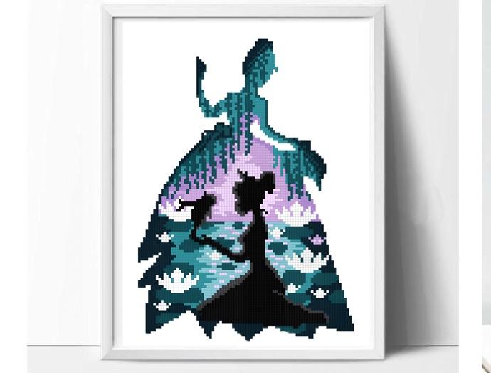 Princess Silhouette modern cross stitch pattern, castle, fairytale, legend,
