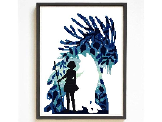 Wolf Modern silhouette cross stitch pattern, anime inspired, movie cross stitch,