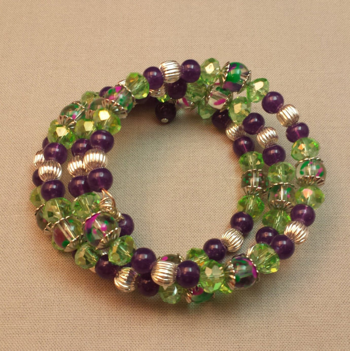 Green and Purple Coil Wrap Bracelet
