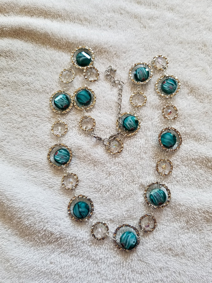 """22"""" Silver Link and Turquoise Necklace"""