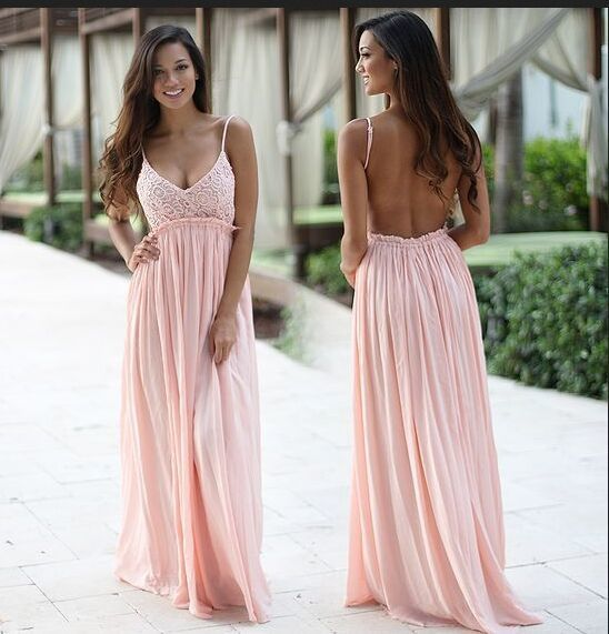 Pink Prom Dresses,Lace Prom Dresses,Evening Dresses,Bridesmaid Dresses,Backless