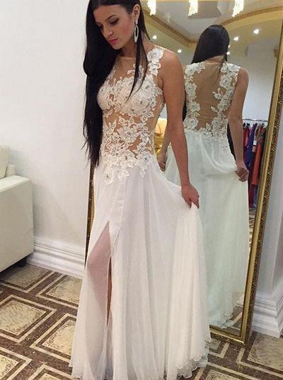 Prom Dresses,Long Prom Dresses,Lace Prom Dresses, Slit Prom Dresses,Sexy Prom