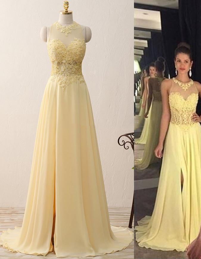 Prom Dresses,A-line Prom Dresses,Applique Prom Dresses,Split Prom Dresses,Yellow