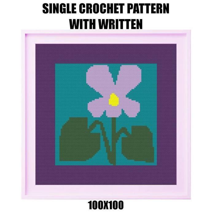 Flower Pillow Crochet Graph Pattern
