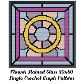 Flower Stained Glass Pillow Crochet Graph Pattern