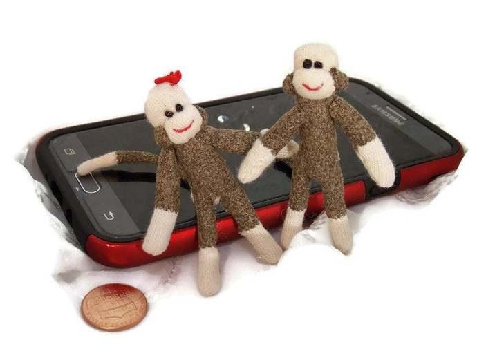 Miniature Sock Monkey~Micro Mini Sock Monkey~3 Inch Sock Monkey~Miniature Sock
