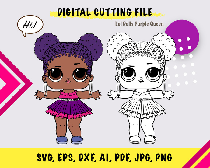 LOL Dolls PurpleQueen,  SVG, eps, dxf, ai, pdf, jpg, png