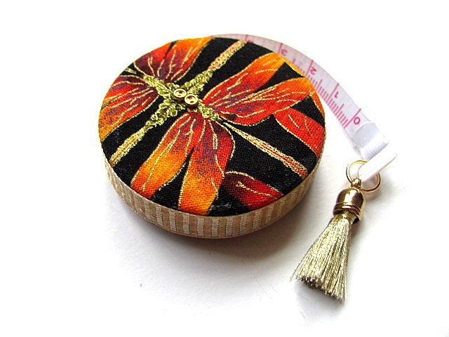 Measuring Tape Gold and Orange Dragonflies Retractable Tape Measure