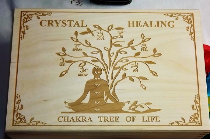 CRYSTAL HEALING - Engraved Tree-Of-Life Spiritual Wooden Storage Box by The