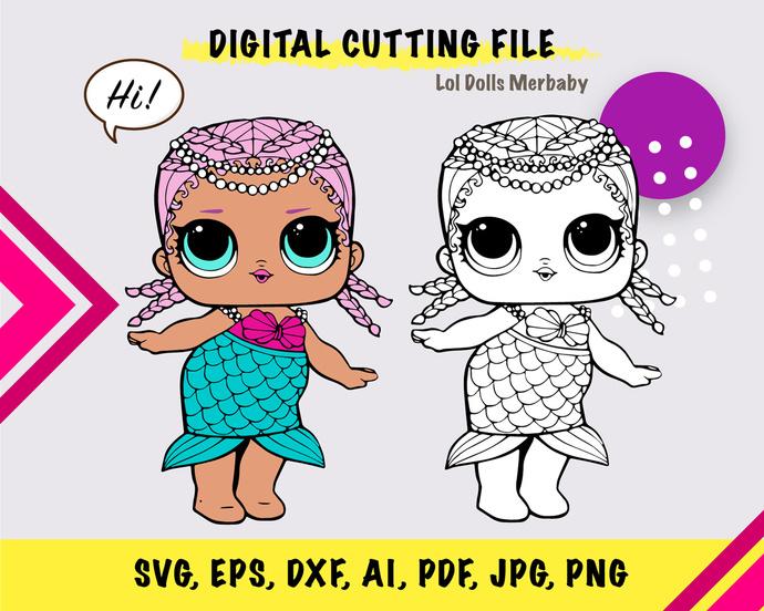 LOL Doll Merbaby SVG, eps, dxf, ai, pdf, jpg, png