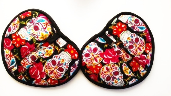 Calavera Sugar Skull Potholders, New Home Housewarming Gift, Day of the Dead