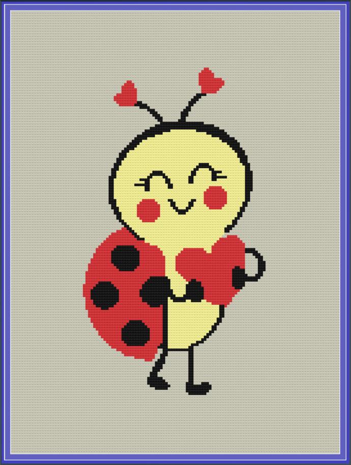 Love Bug Baby Throw, 128 x 172 SC, Crochet Graph and Written Pattern