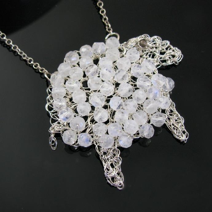 Fine silver wire crochet lamb pendant with moonstones
