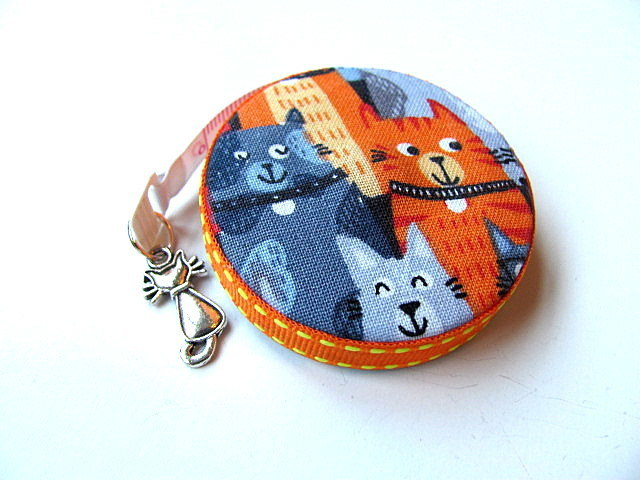 Measuring Tape Gray and Orange Cats Retractable Tape Measure