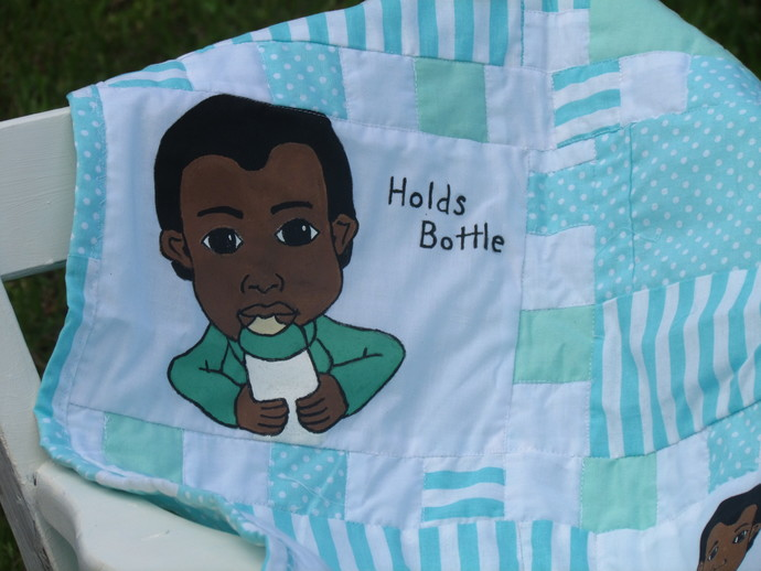 Baby's Firsts Hand painted boys quilt