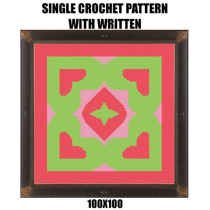 Heart Pillow Crochet Graph Pattern