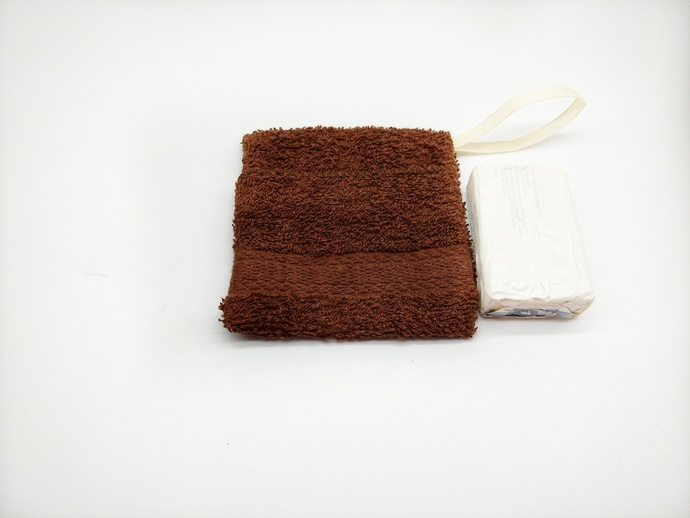 Brown Shower Washcloth Soap Holder, Bath Accessory for Seniors