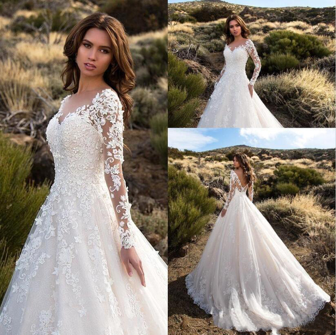 Gorgeous Ivory Sheer Long Sleeves Wedding Dresses Sexy Backless Lace Tulle
