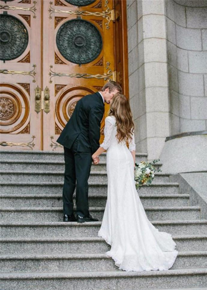 Vintage Modest Wedding Dresses With Long Sleeves Bohemian Lace Mermaid Bridal