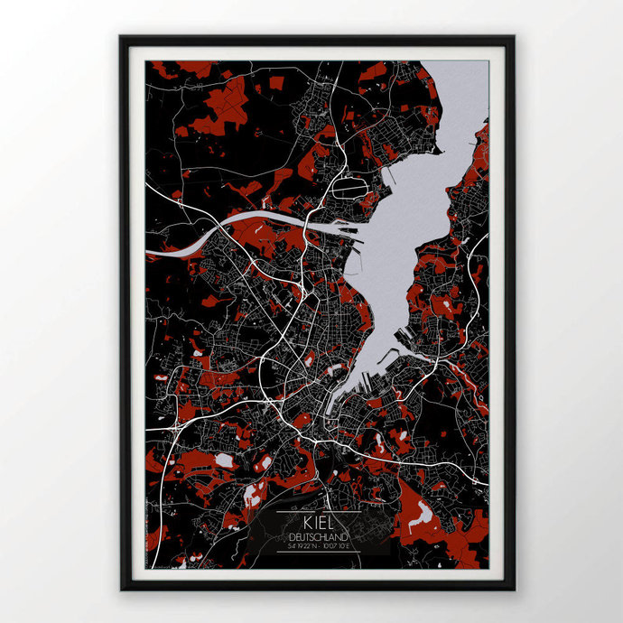 Kiel, Germany, City Map Prints, Large Size, A3, A2, Green spaces, Custom Map,