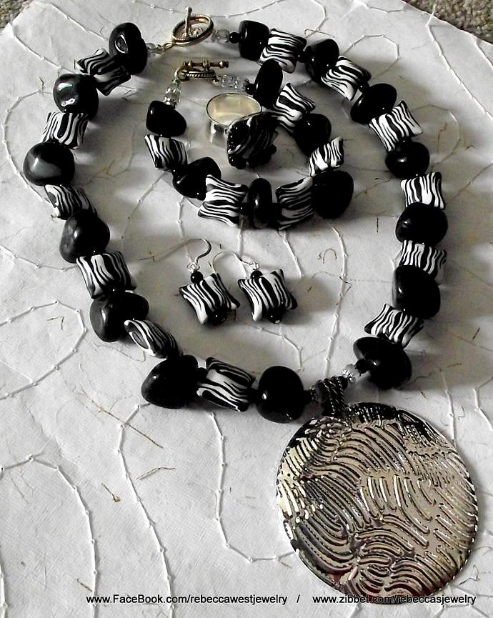 Animal Instinct  4PC Jewelry Set  Zebra Black and White Clay, Metal, Agate,