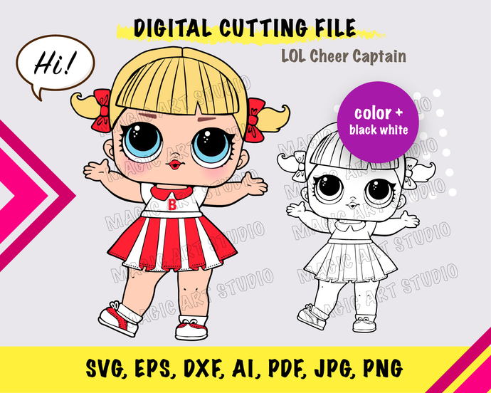 LOL Cheer Captain SVG, eps, dxf, ai, pdf, jpg, png