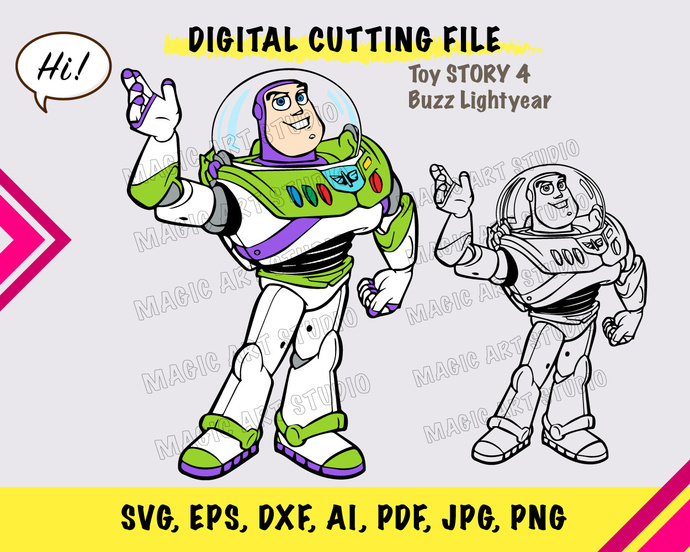 Toy Story  Buzz lightyear SVG, eps, dxf, ai, pdf, jpg, png