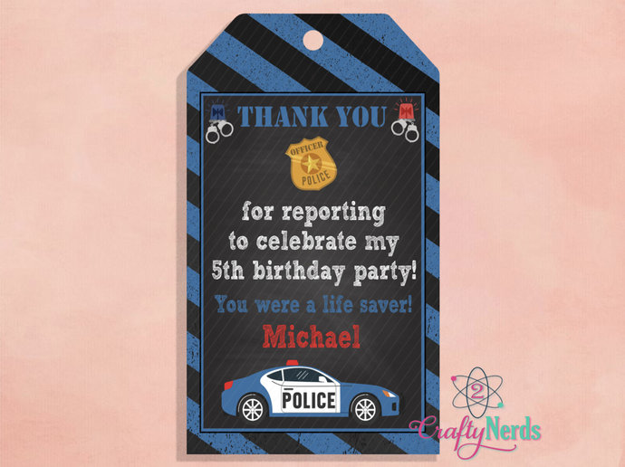 Police Cop Birthday 10 Thank You Tag, Police Party, Personalized, Cop Party,