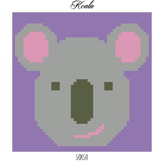 Koala Pillow Crochet Graph Pattern