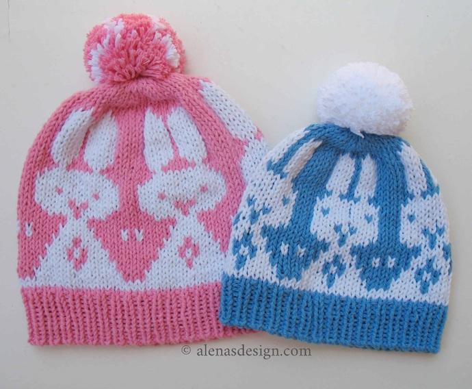 Knitting Pattern 237 Rabbit Beanie Hat Pompom Hat Baby Children Adult Boys Girls