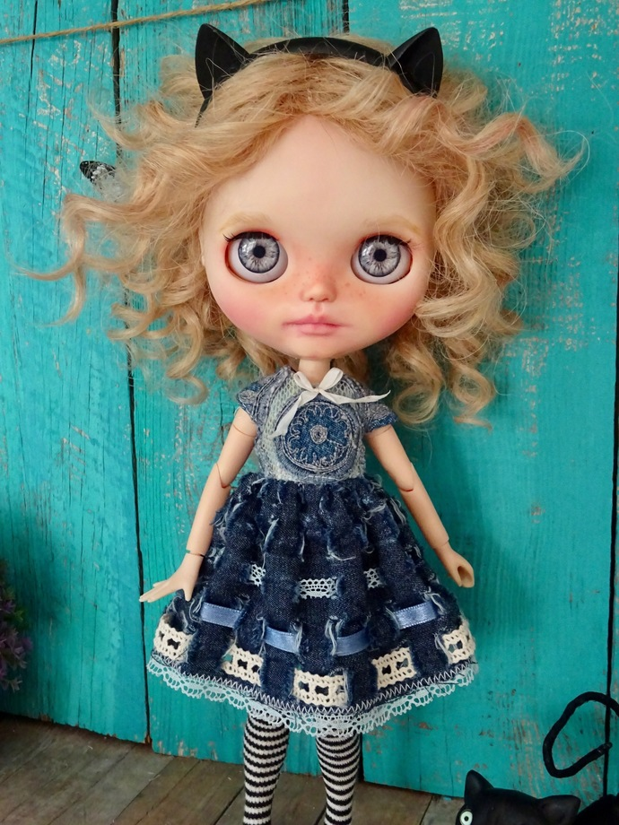 Blythe doll OOAK dress- embroidered denim outfit
