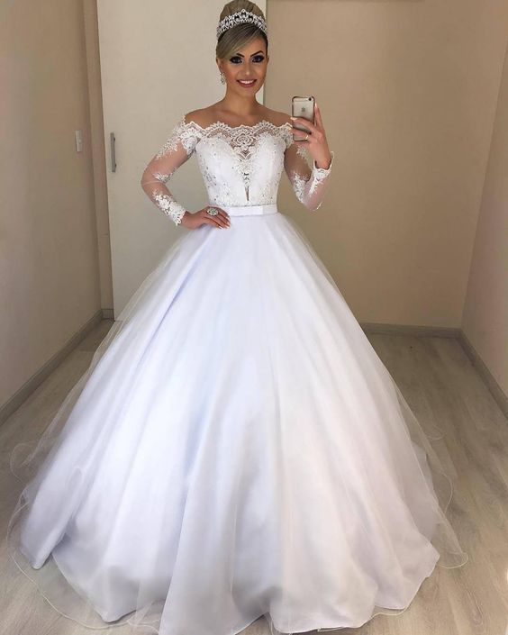 Long Sleeve White Appliques Tulle Ball Gown Wedding Dresses, Formal Wedding Gown