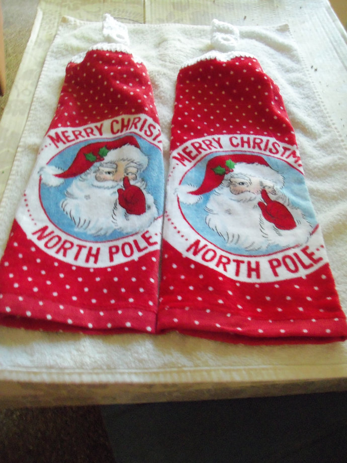 North Pole Merry Christmas Design Kitchen Hanging Towels