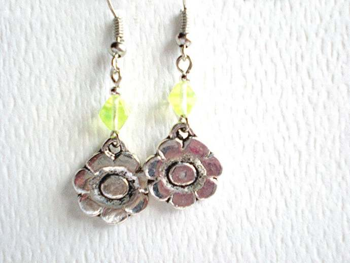 Flower charm earrings, lime green glass beads & flower dangles, gift for her,