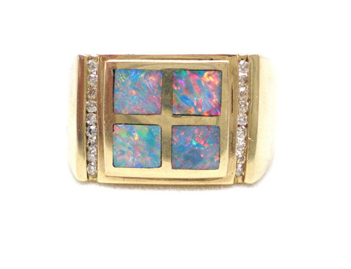 Opal and diamond ring, mens vintage  14K yellow gold inlaid opal ring,  size 10