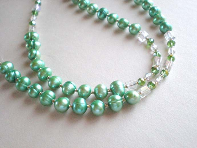 Pale green fresh water pearl necklace, with Swarovski crystals, 25 inch  modern