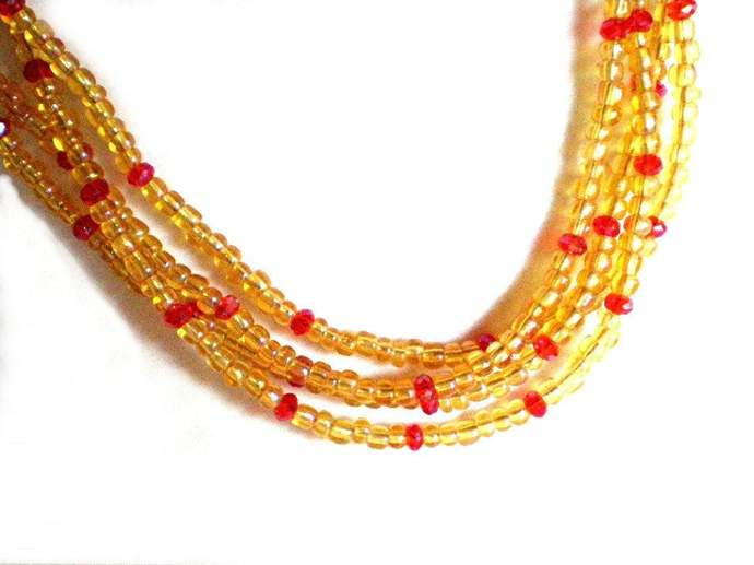 Yellow & orange seed bead and crystal necklace, 23 inch multi strand